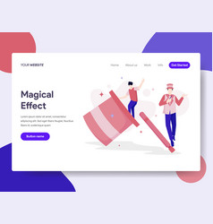 Landing page template magical effect concept vector