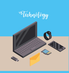 Laptop with smartphone and smartwatch technology vector