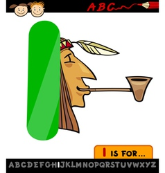 Letter i with indian cartoon vector
