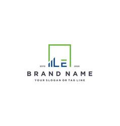 Letter le square logo finance design vector