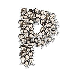 Letter P people crowd alphabet design vector