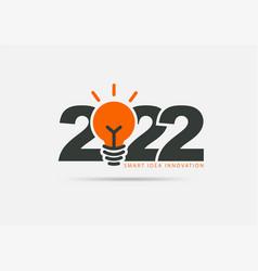 Logo 2022 new year with creative lightbulb design vector