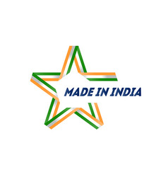 made in india badge with indian flag colors vector image