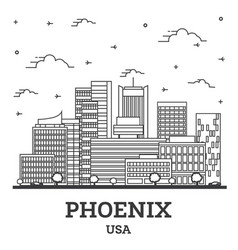 Outline phoenix arizona usa city skyline vector
