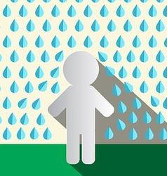 Paper Man in Rain Flat Design vector image