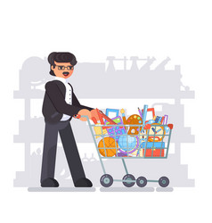 parent father shopping equipment for kid school vector image