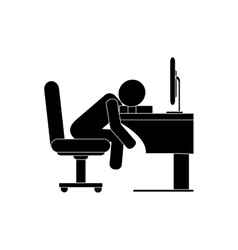 person sleeping on desk icon vector image