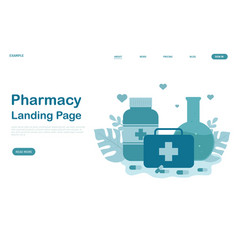 pharmacy landing page design for website vector image