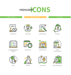 real estate - modern line design style icons set vector image