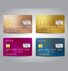 Realistic detailed credit cards set vector