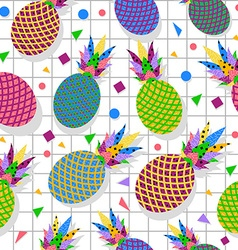 Retro vintage pineapple fruit 80s pattern backdrop vector