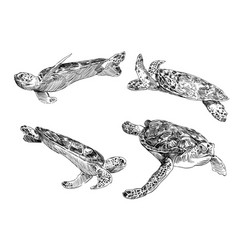 Sea turtle from a different angle hand drawn set vector