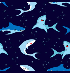 seamless pattern cute sharks isolated on dark vector image