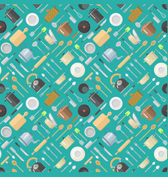 Seamless pattern with kitchenware pans jars vector
