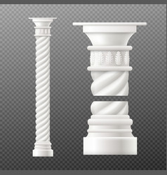 set antique column and pillar realistic vector image
