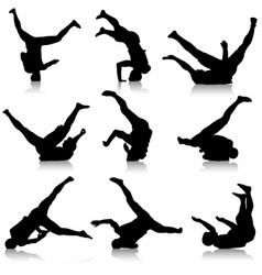 Set black silhouettes breakdancer on a white vector
