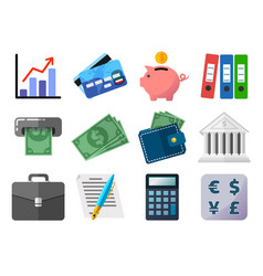 set flat icons business finances money and vector image