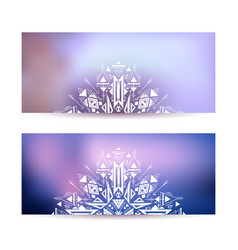 set horizontal cards with tribal decoration on vector image
