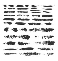 Set of black ink brush strokes vector