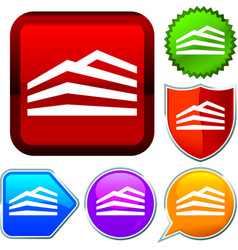 Set shiny icon series on buttons building vector