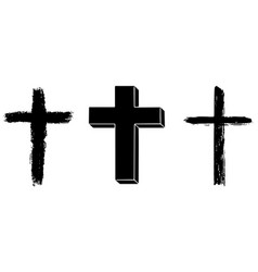 set three religious crosses vector image