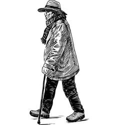 Sketch an elderly townsman with a cane going vector