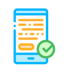 smartphone display and approved mark icon vector image