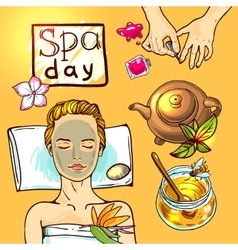 Spa woman gets relax with honey vector