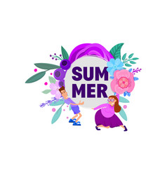 summer - poster with character and floral vector image