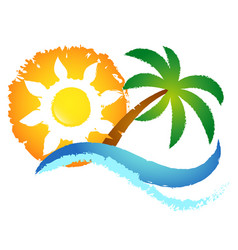 sun blue wave and palm tree vector image