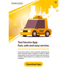 Taxi service with yellow retro cab vector