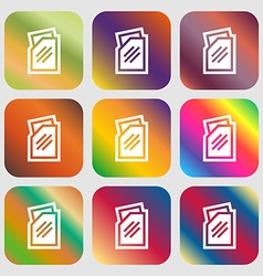 Text file icon Nine buttons with bright gradients vector image