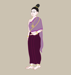 Thai women with vintage dress style vector