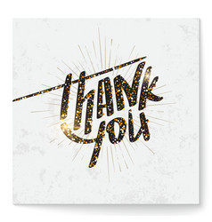Thank you card with modern glitter lettering vector image vector image
