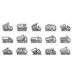 Tipper icons set outline style vector