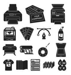 Typographical products black icons in set vector