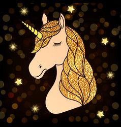 Unicorn with golden hair vector