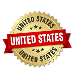 United States round golden badge with red ribbon vector image vector image
