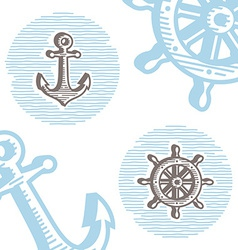 Vintage marine symbols icon set engraving anchor vector image