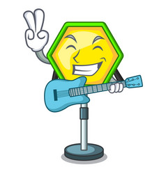 With guitar road traffic sign on the cartoon vector