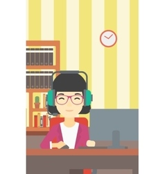 Woman playing computer game vector