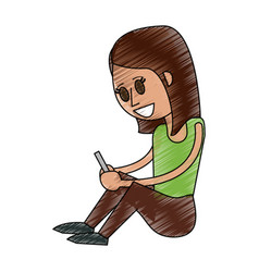 woman with smartphone vector image