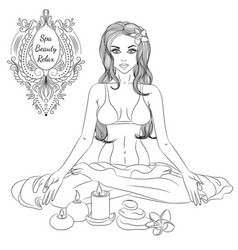 yoga girl line art vector image