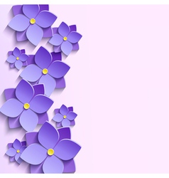 Background with summer 3d flowers violets vector image vector image