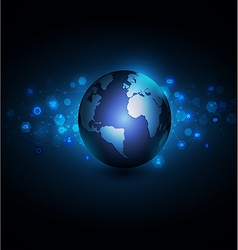 world with network communication and global vector image