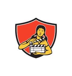 Asian Woman Movie Clapper Shield Retro vector image vector image