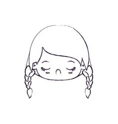 Blurred thin silhouette of kawaii head little girl vector