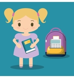 cartoon school girl purple bag book blue vector image