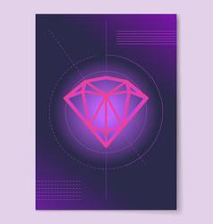 sketch of precious diamond on circle lines crystal vector image