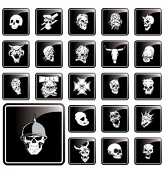 skull button vector image